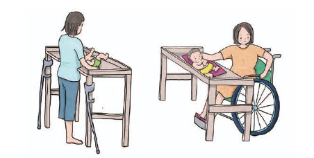 지체장애인 여성이 아기를 테이블 위에 올려두고 옷을 갈아 입히는 일러스트