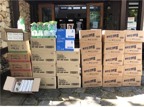 소독용 알콜, KF-AD마스크, 체온계, 소독용 티슈 등의 방역 물품 구비