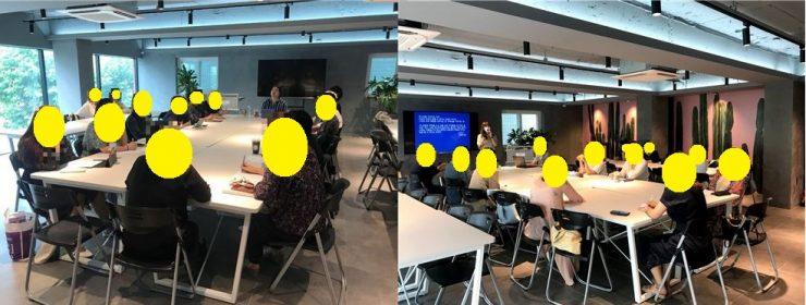 오토픽션 클래스가 진행되는 현장 사진 2장. 네모난 큰 책상에 참가자들이 둘러앉아 있다.