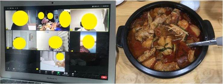 온라인으로 진행 된 스페셜 낭독회 이미지. 줌 화면에 각자의 공간에서 근황을 나누고 작품을 낭독하고 있는 참가자들이 비춰지고 있다.
