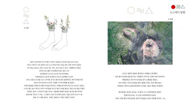 해밭똥 온라인 웹진 캡쳐본. 3-4월과 5-6월 시기의 단상이 이미지와 함께 기록되어 있다.